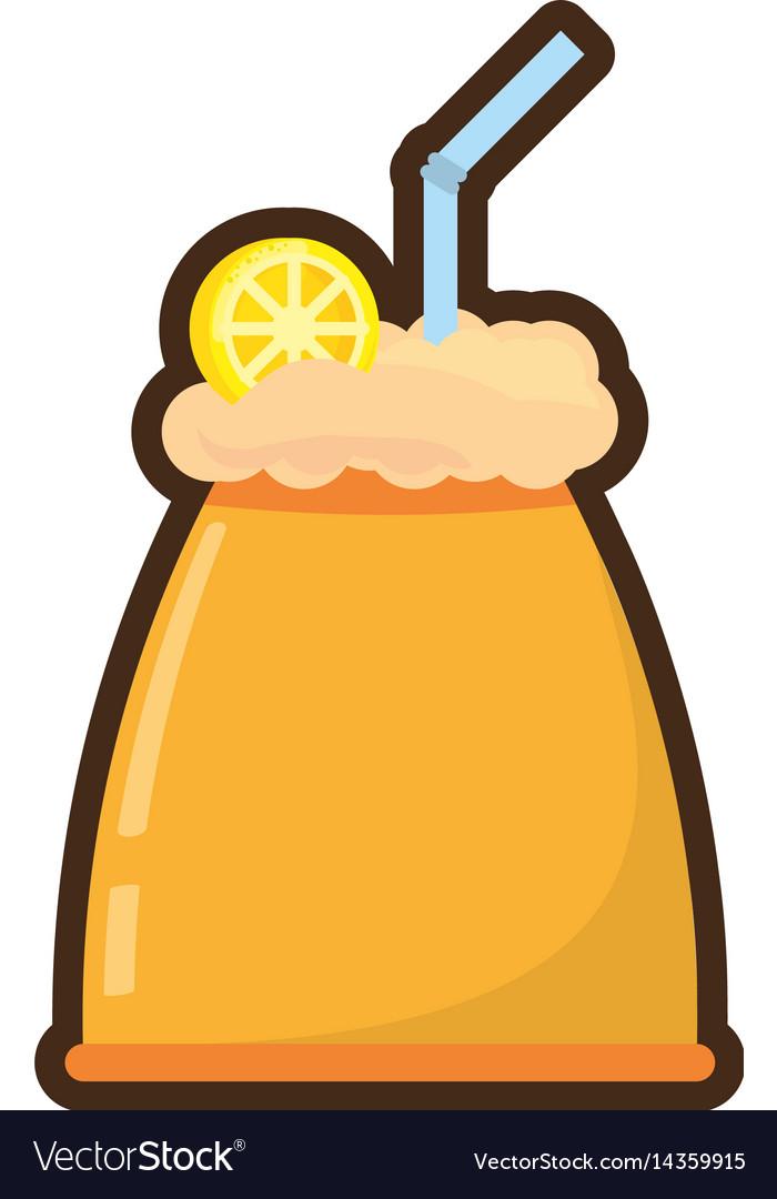 Cartoon milk shake orange juice straw