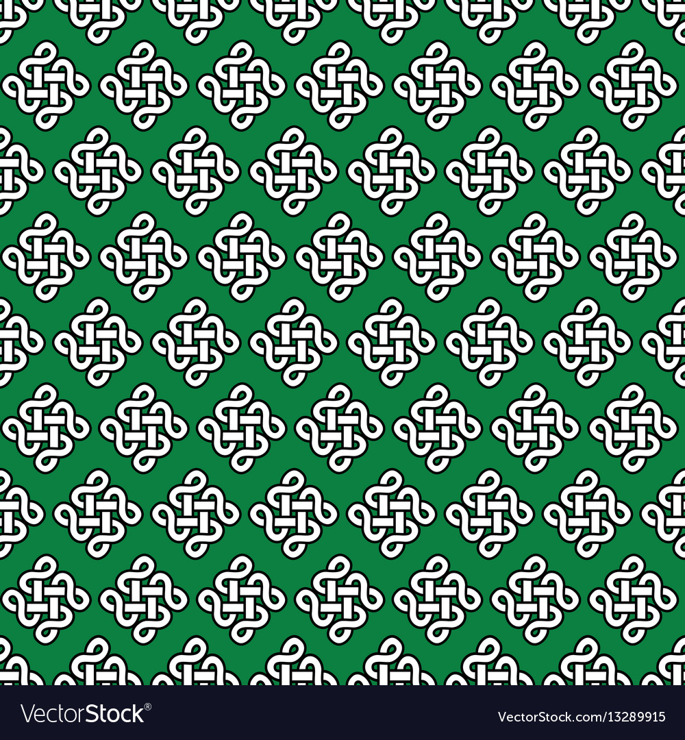 Celtic irish knots seamless in white with black
