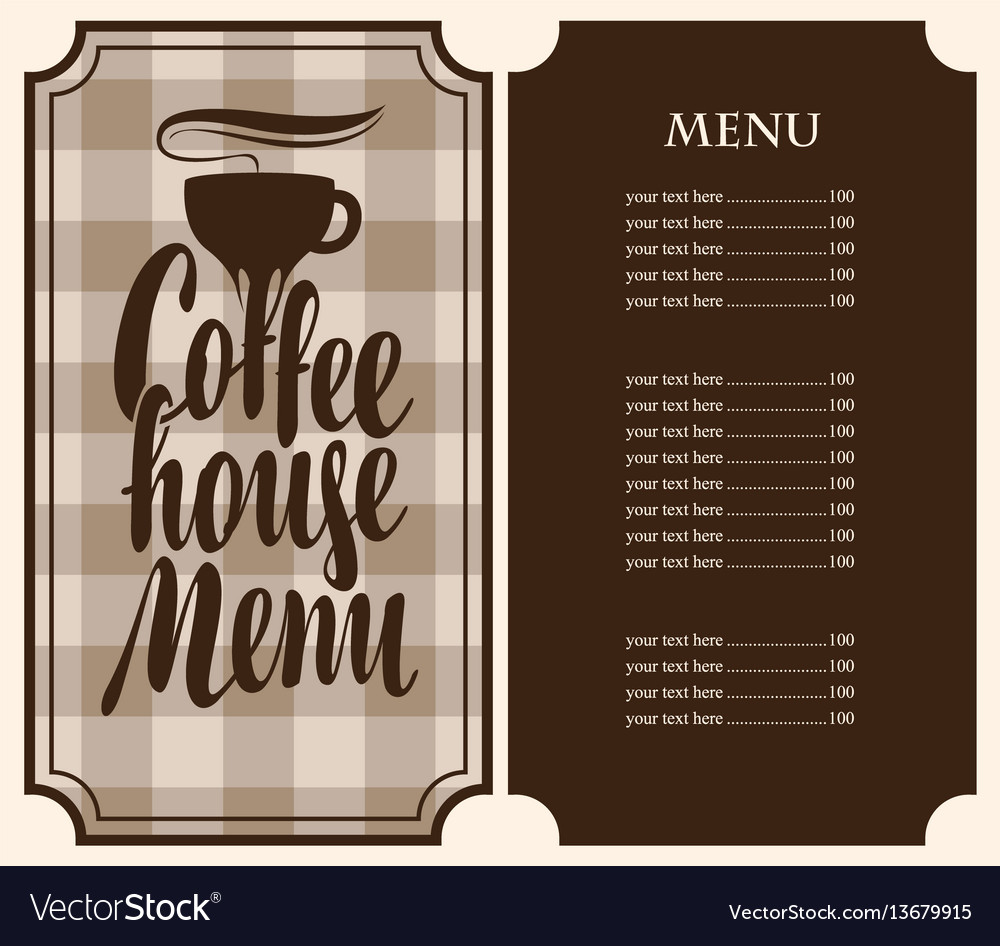 Coffee house menu with cup and price