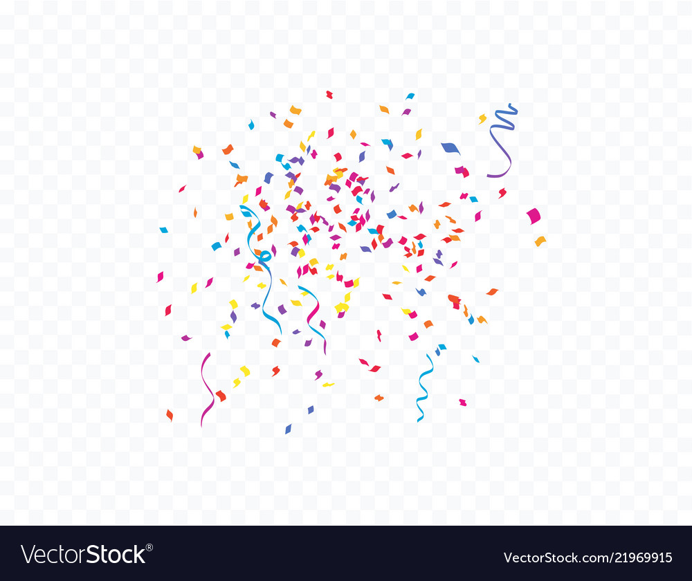 Confetti and colorful ribbons concept