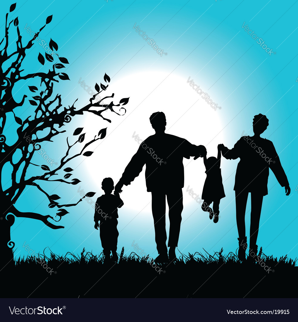 Family nature walks vector image
