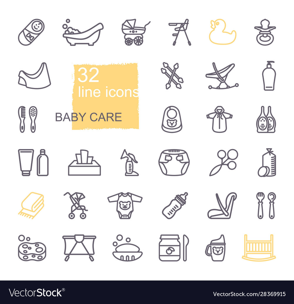 Linear icons on theme child care feeding