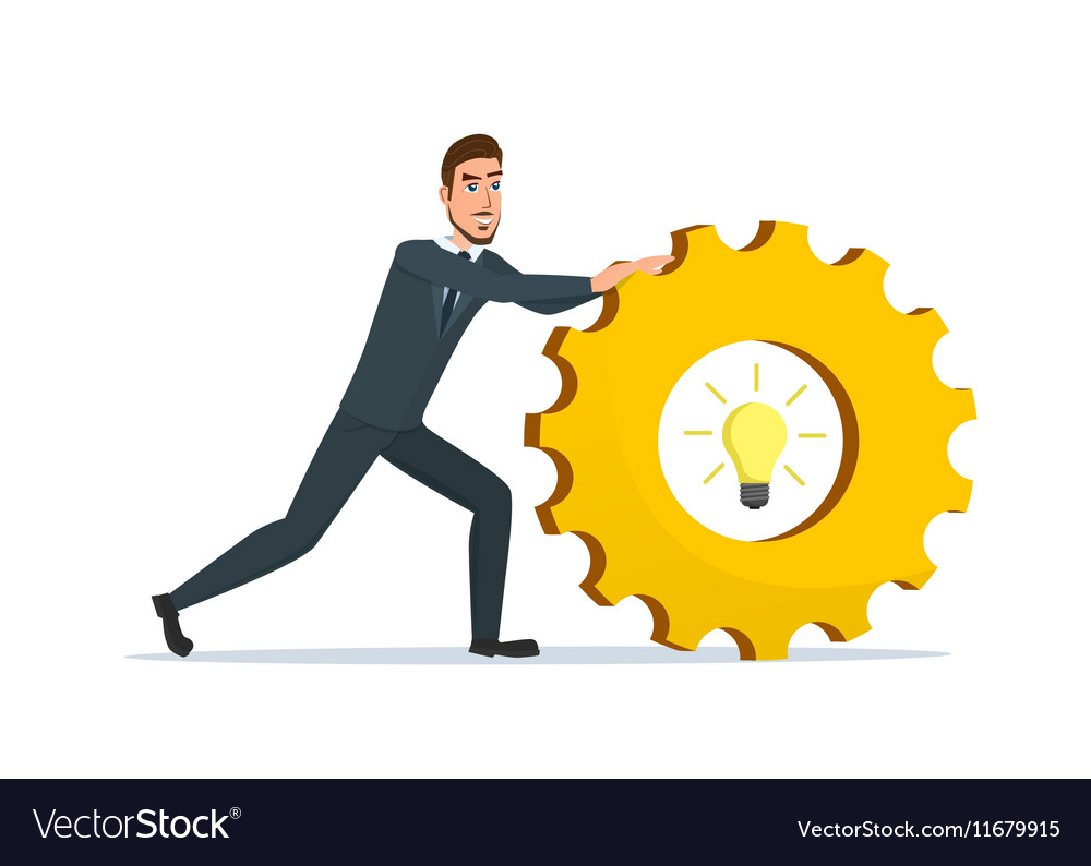 Man rolls gear Business cartoon concept isolated vector image