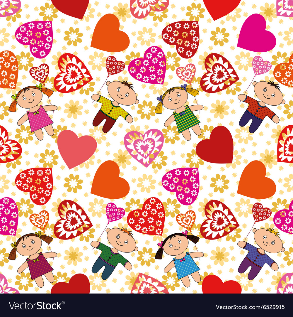 Seamless Background Children and Hearts