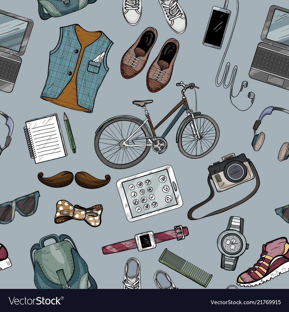 Seamless pattern of modern man accessory set