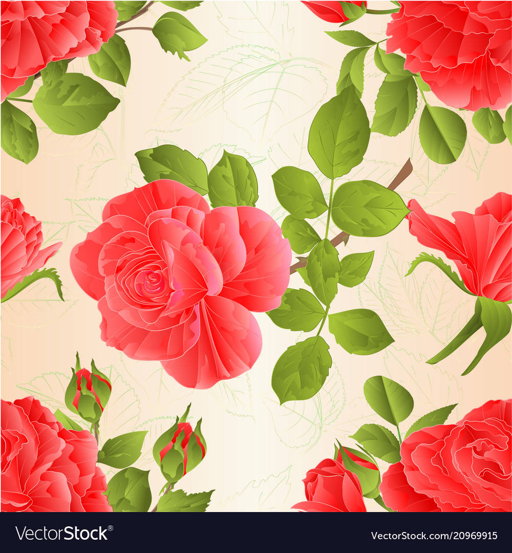 Seamless texture pink roses with buds and leaves