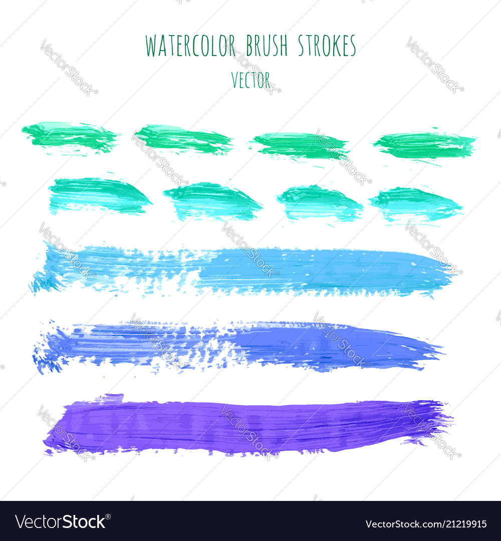 Set of green blue watercolor stripes