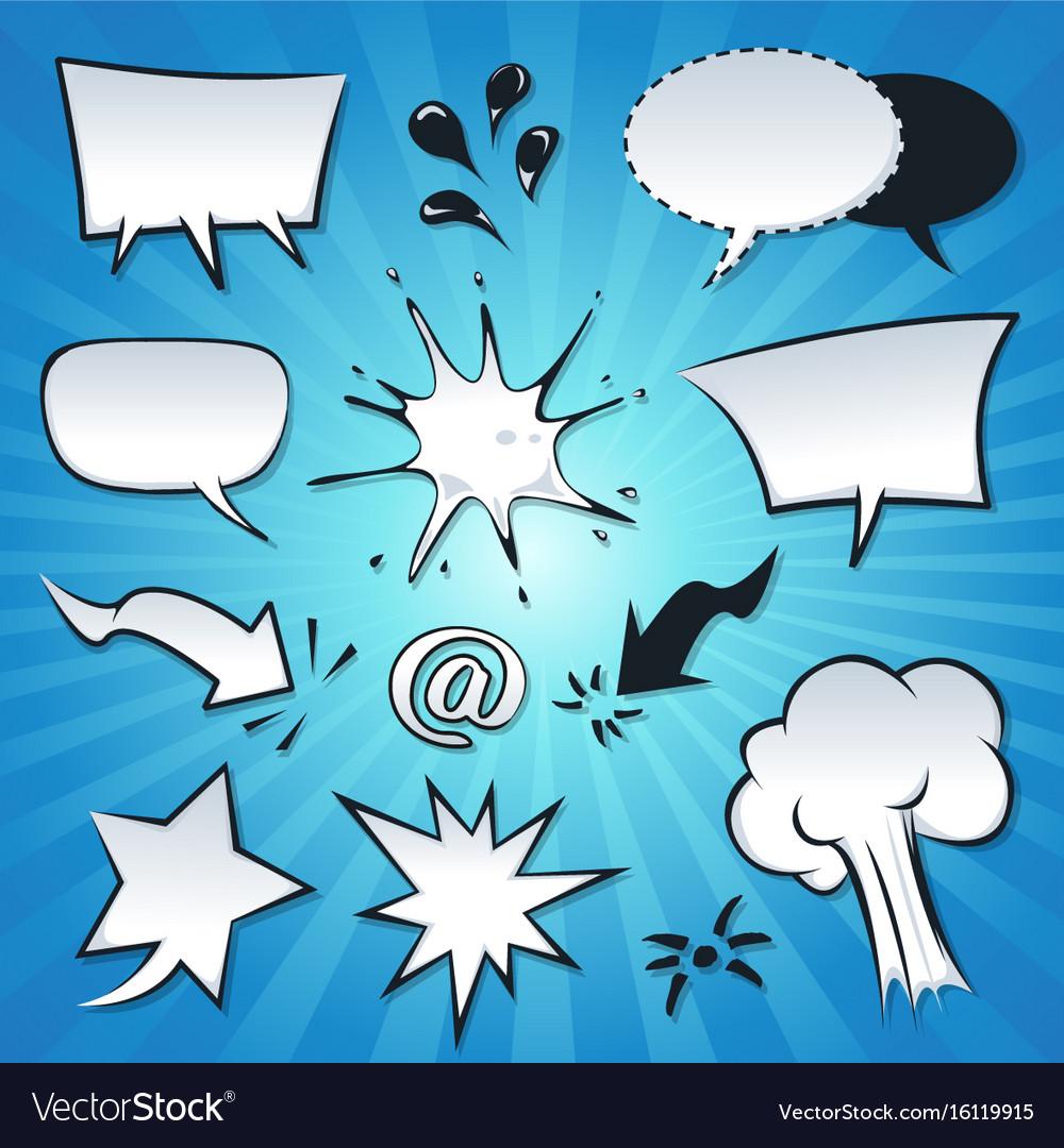 Speech bubbles explosion and splashes set