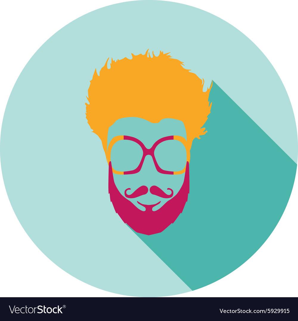Super hero mask glasses beard hair Flat style