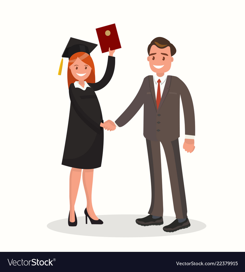 The girl graduate is awarded a diploma