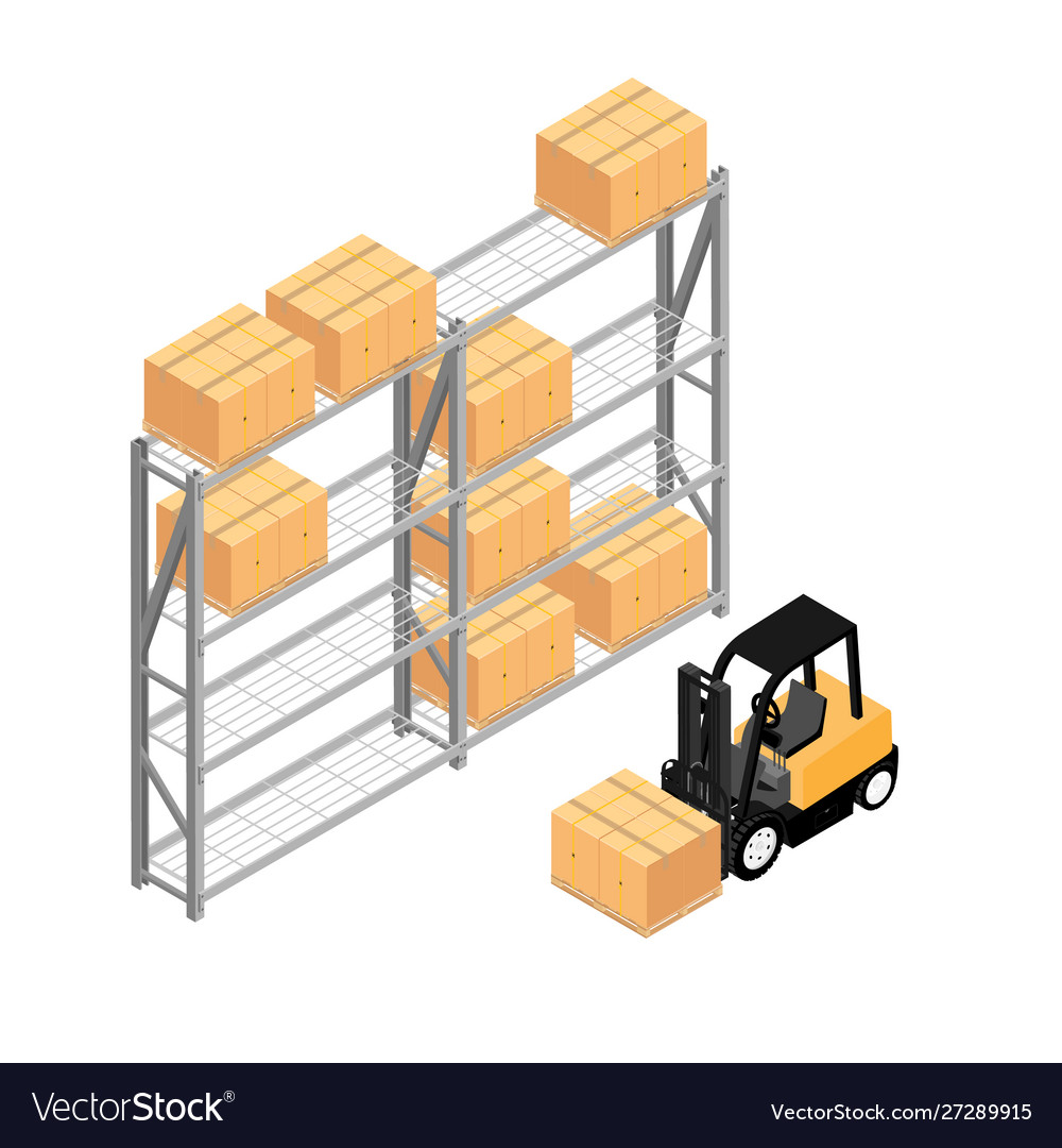 Warehouse interior with shelves pallets forklift