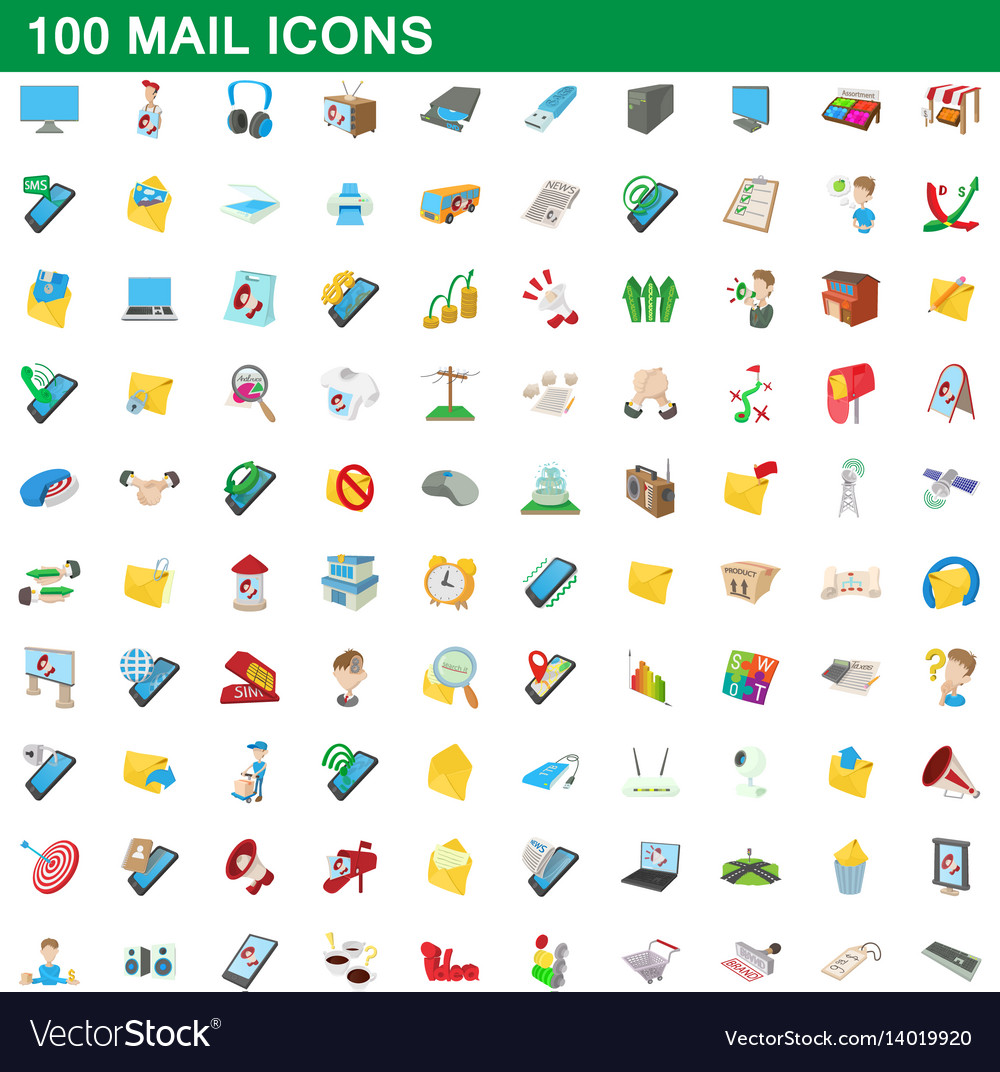 100 mail icons set cartoon style