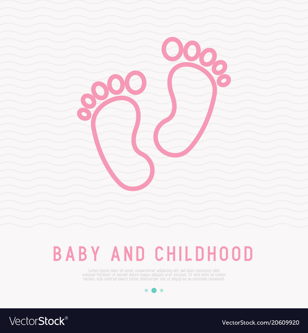 Baby feet thin line icon
