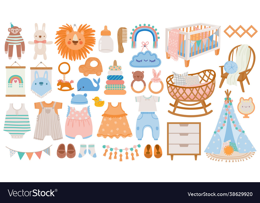 Baby furniture and clothes nursery elements