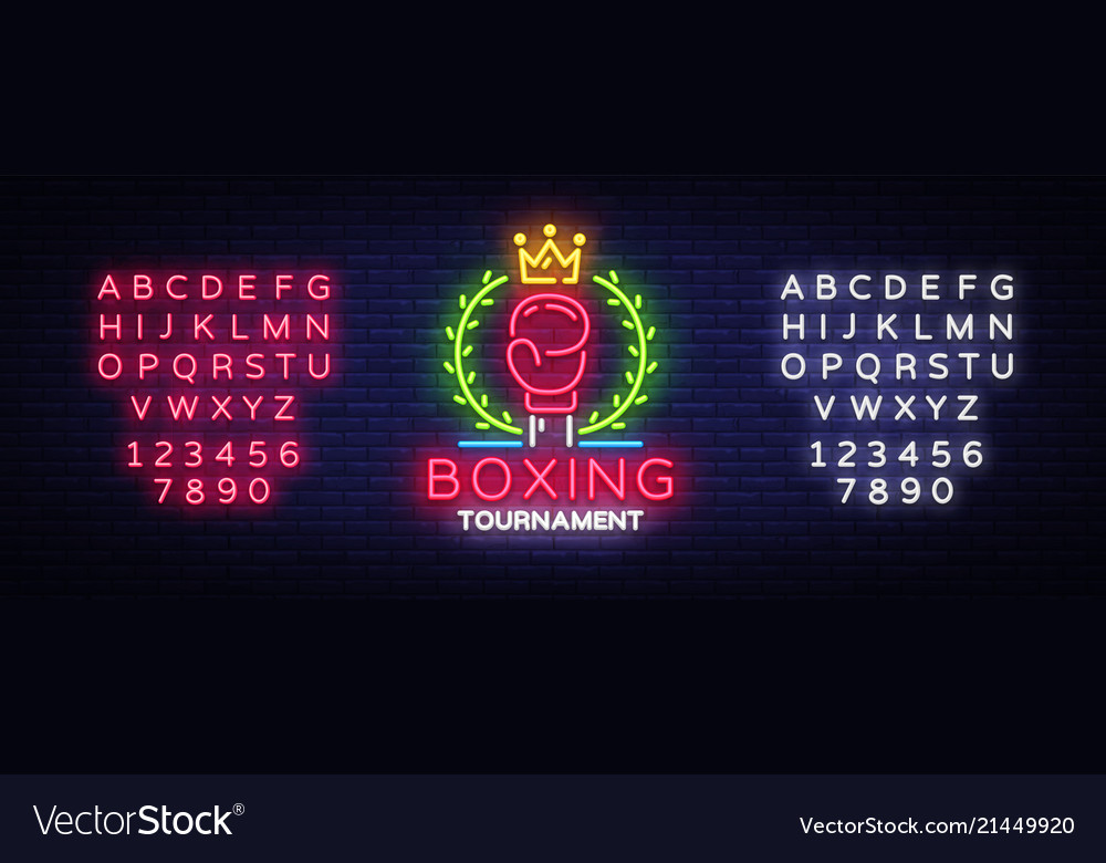Boxing neon sign design template boxing