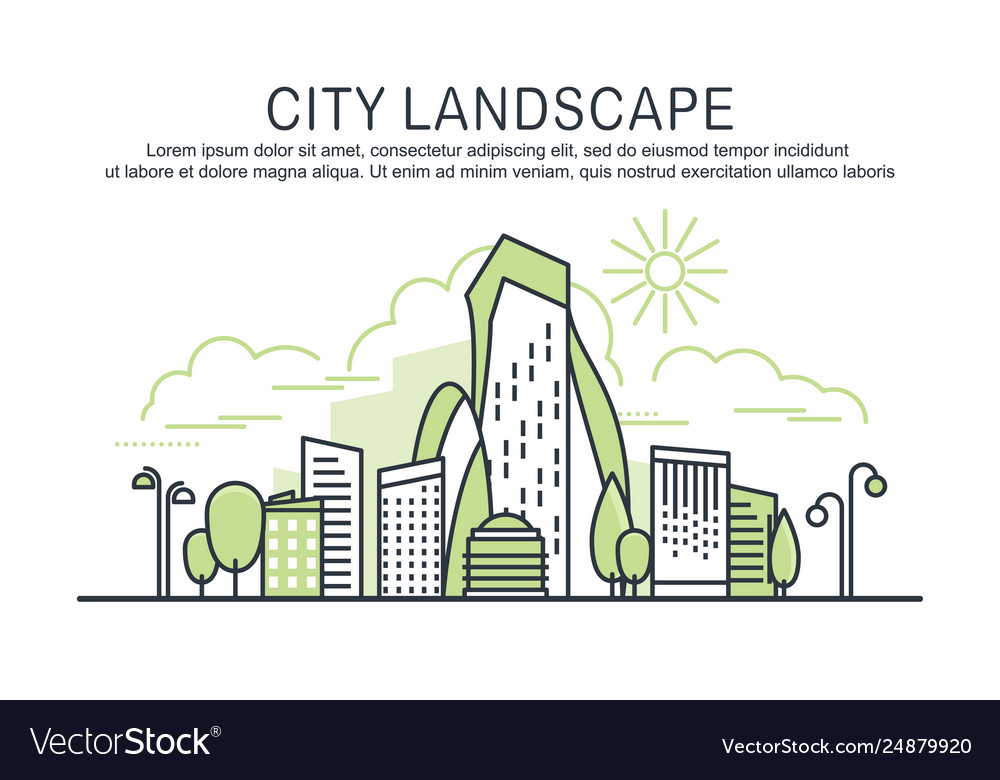 City landscape template with text
