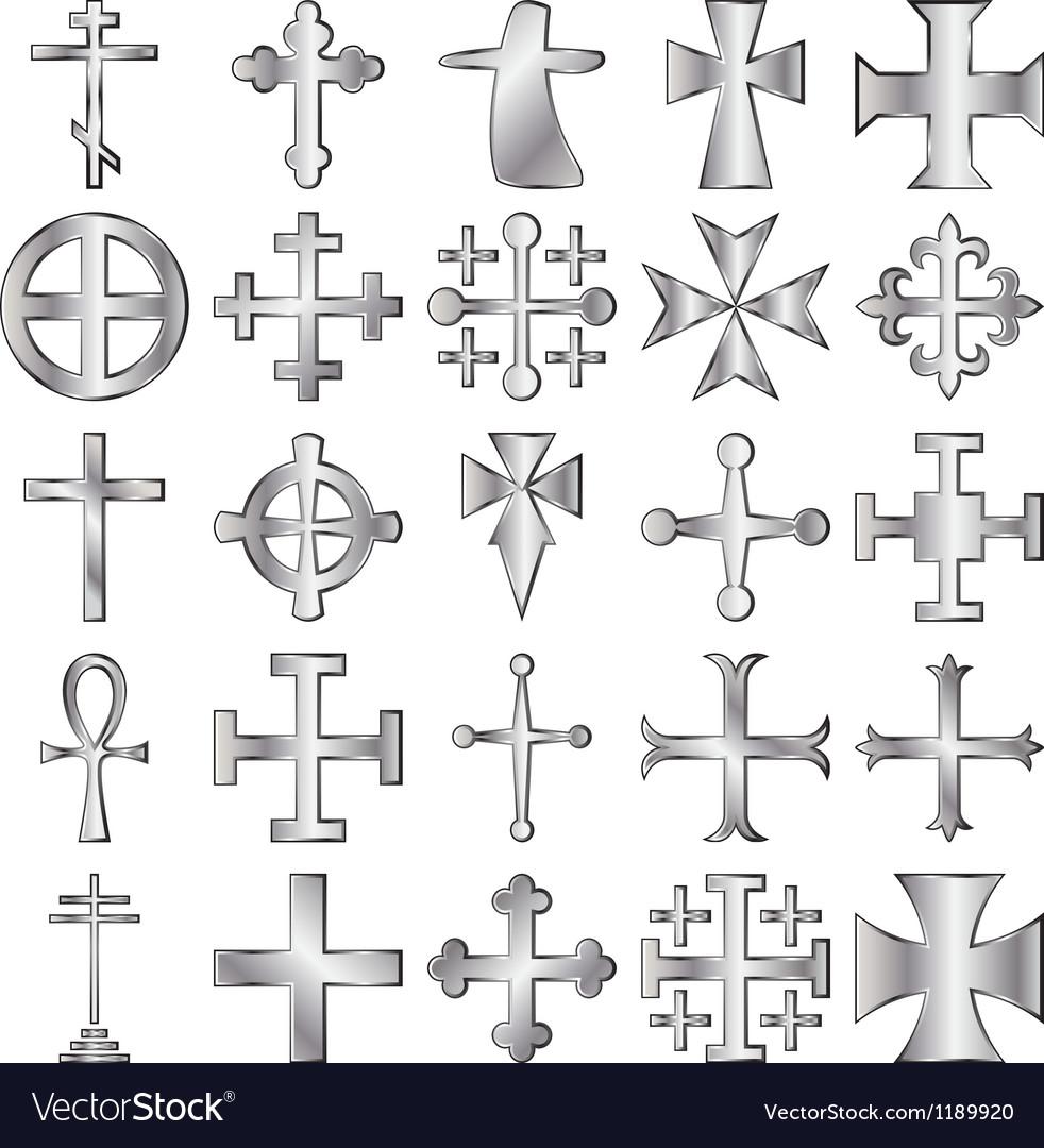 Crosses set vector image