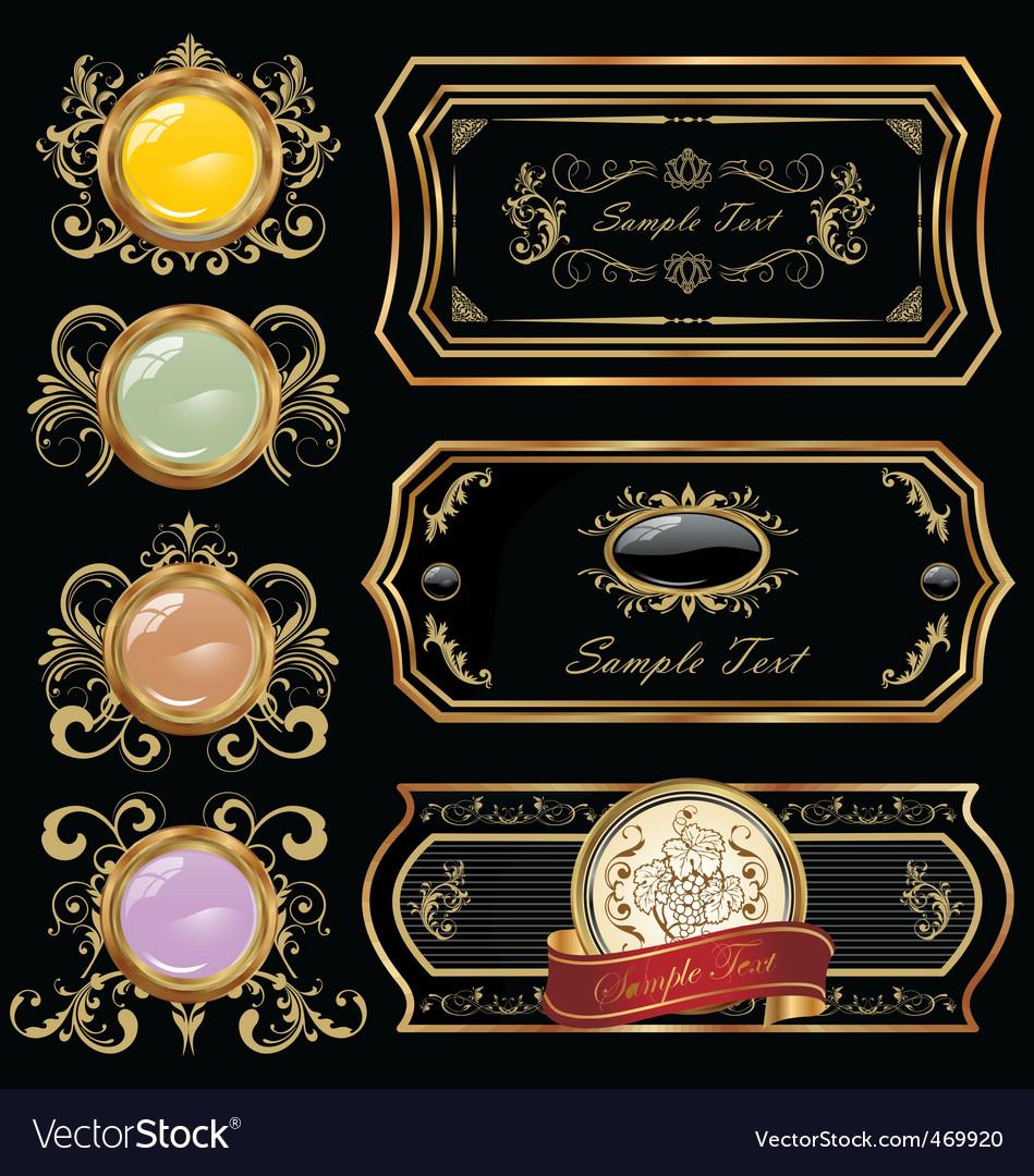Decorative gold label vector image