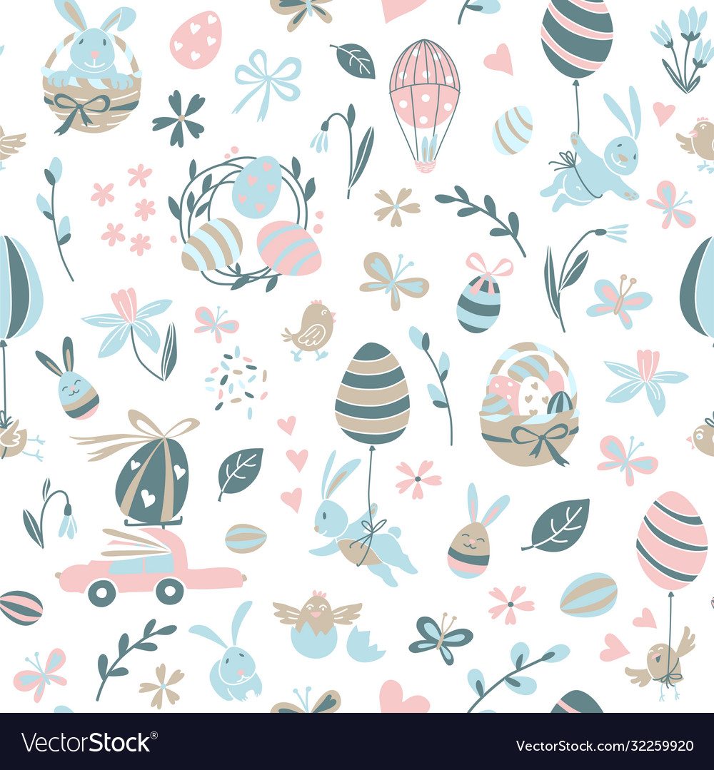 Funny happy easter seamless pattern background