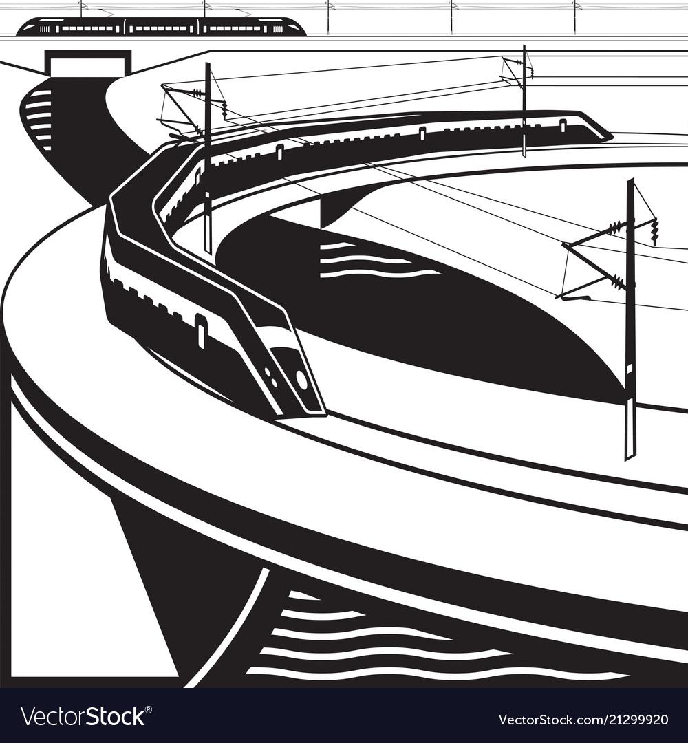High-speed passenger trains pass river bridge