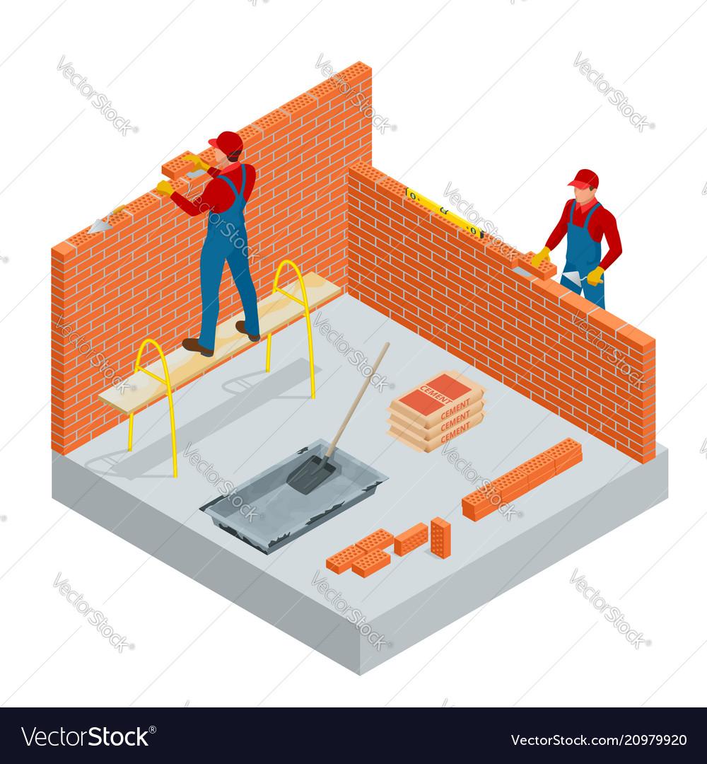 Isometric industrial worker building exterior