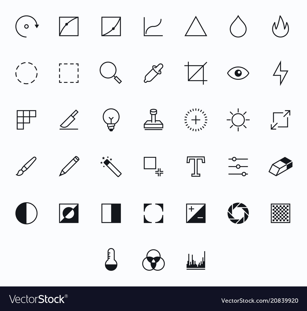 Photography outline icons for web and mobile thin