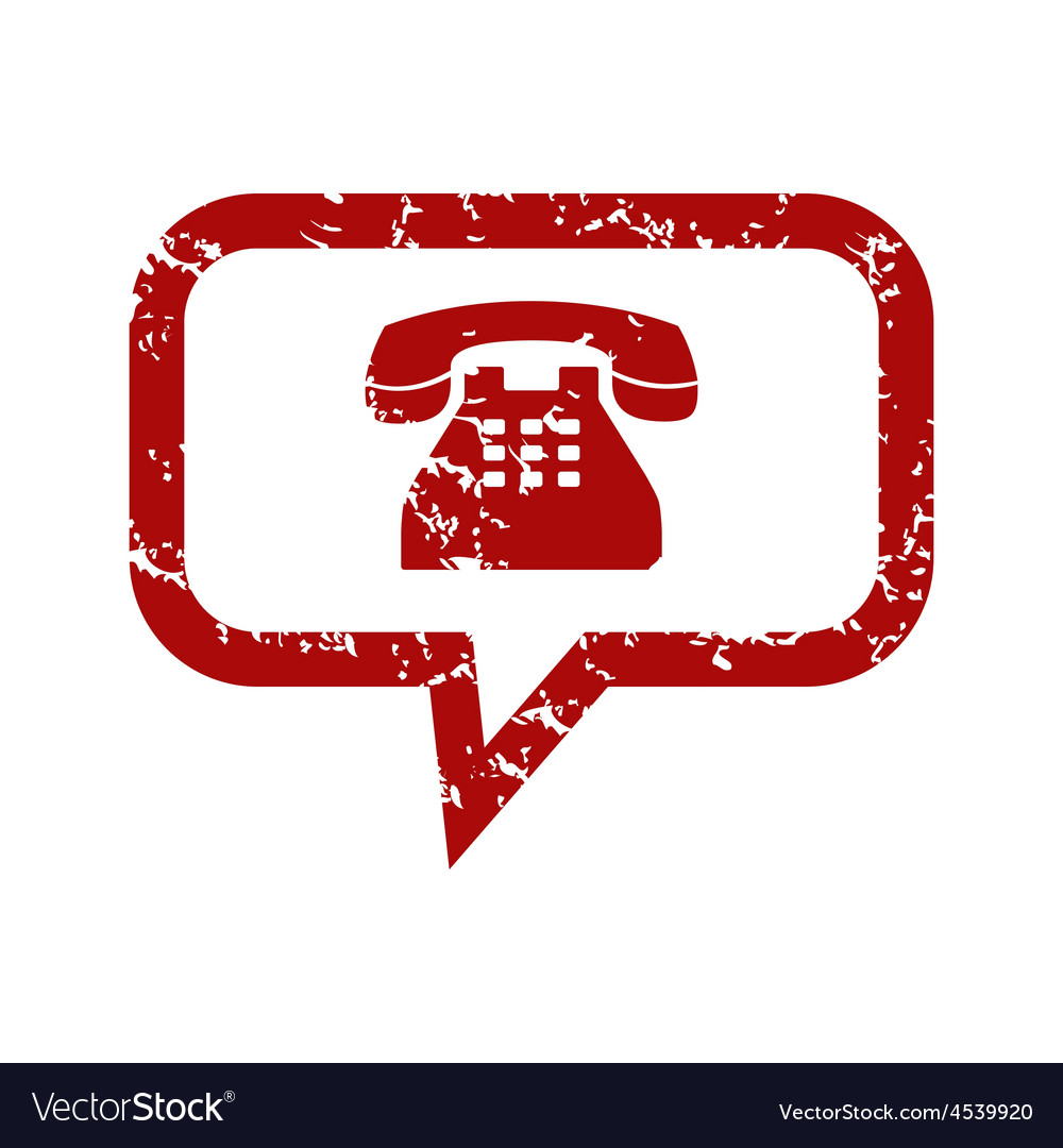Red grunge telephone conversation logo vector image