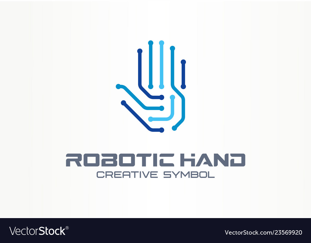 Robotic hand creative symbol concept digital