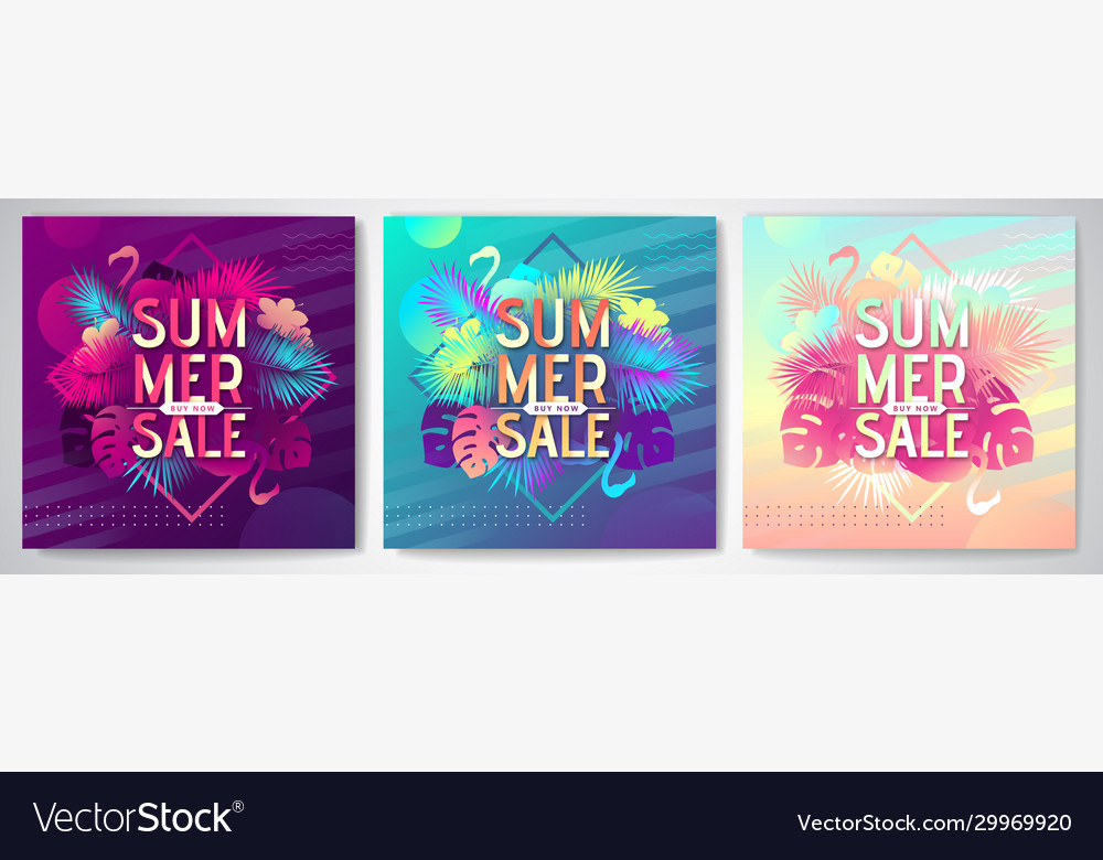 Set colorful summer big sale tropical posters