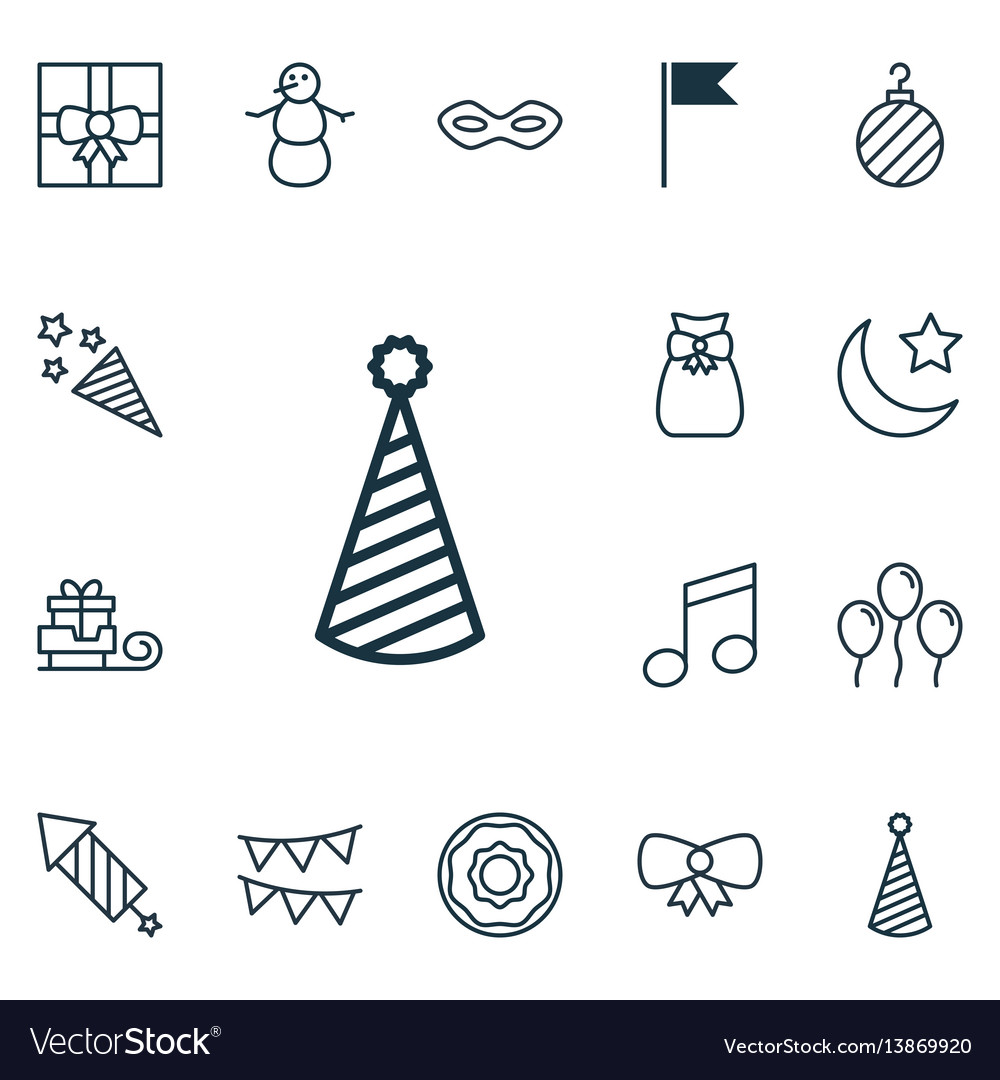 Set of 16 new year icons includes firecracker vector image