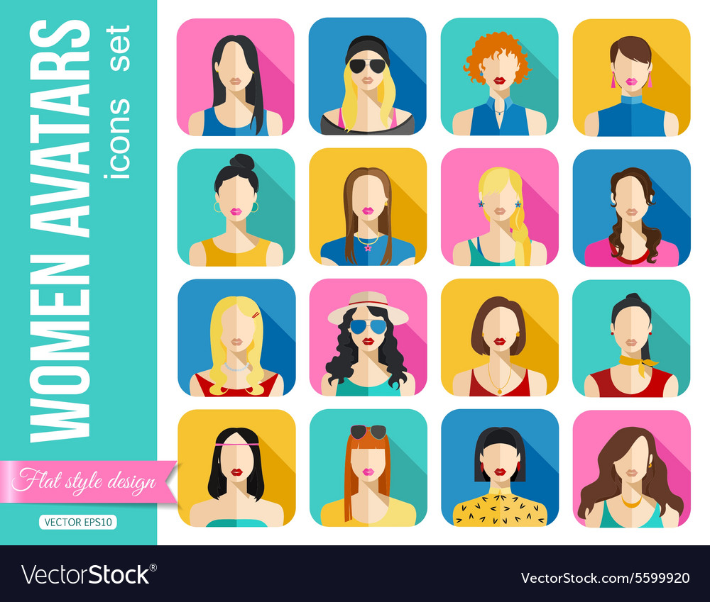Set of Women Avatars Icons Colorful Female Faces