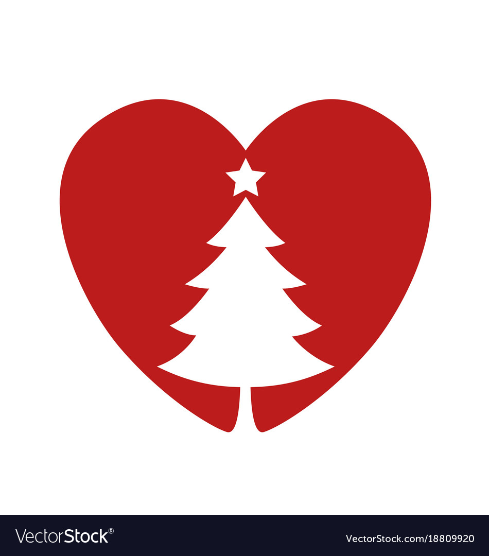 I Heart Christmas.Silhouette Of A Christmas Tree In The Heart