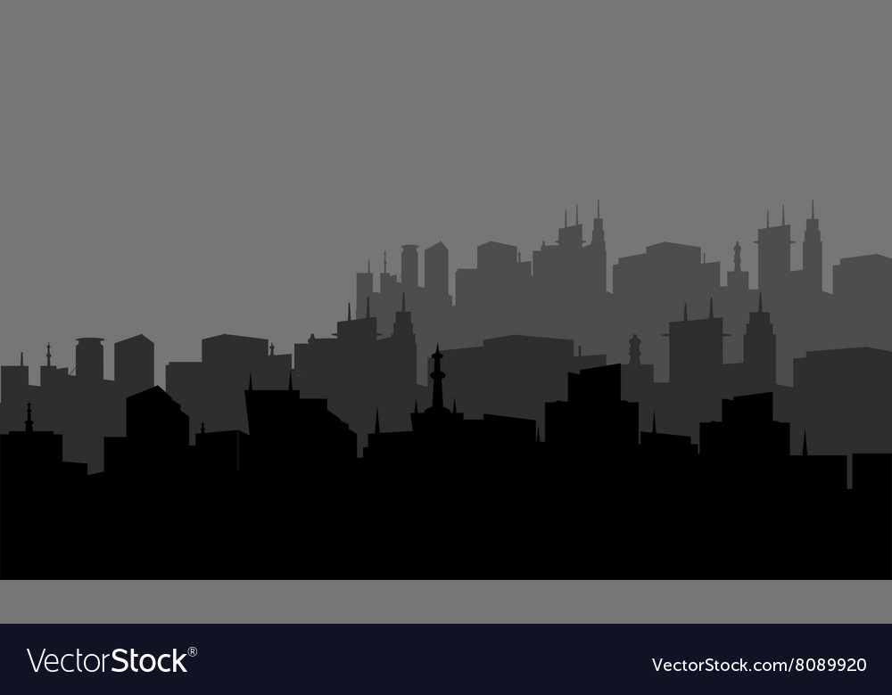 Silhouette of the city in the highlands
