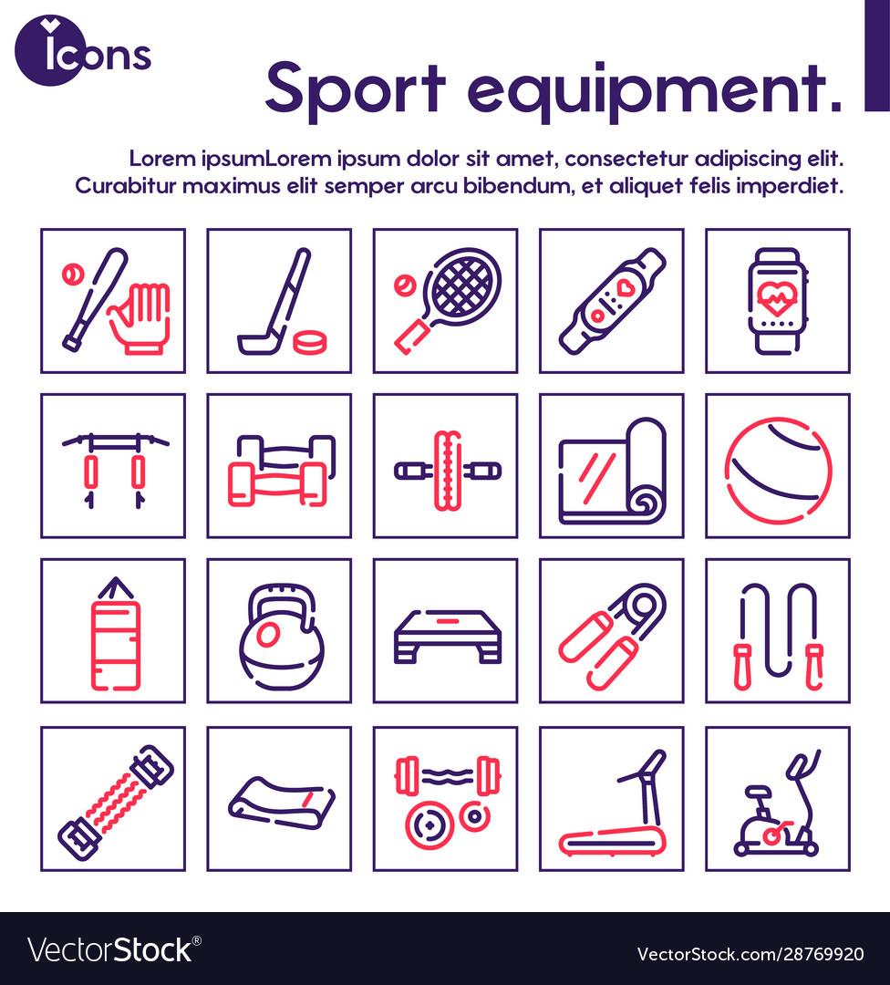 Sport equipment linear color icons set
