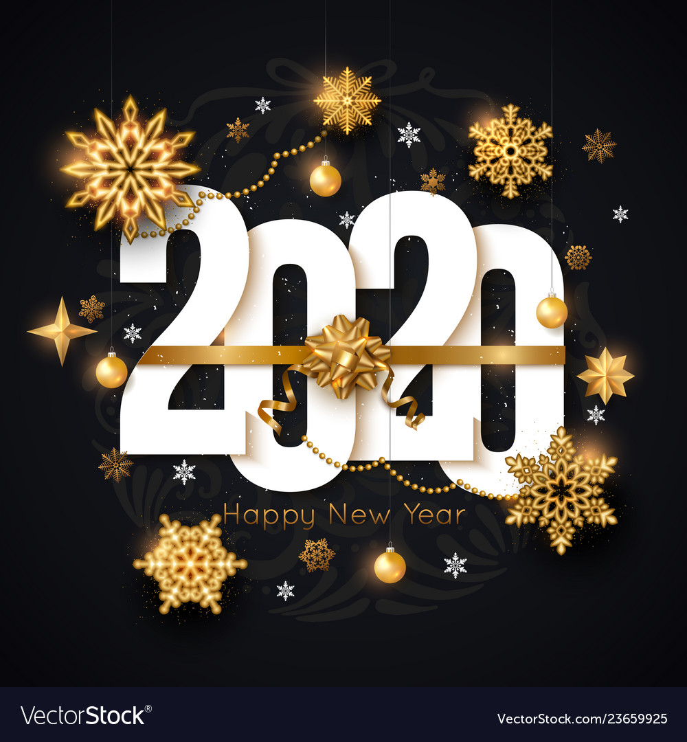2020 happy new year background decorated gold