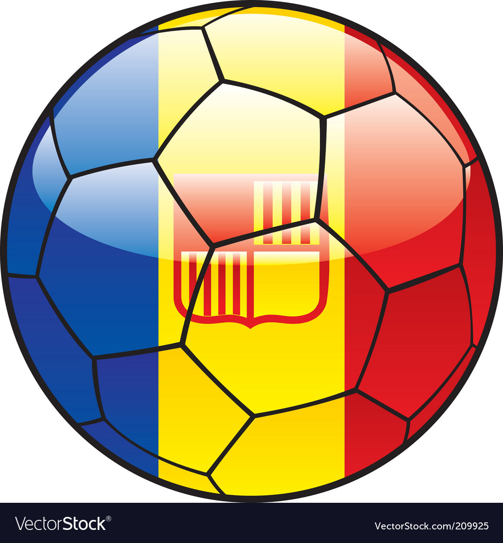 Andorra flag on soccer ball vector image
