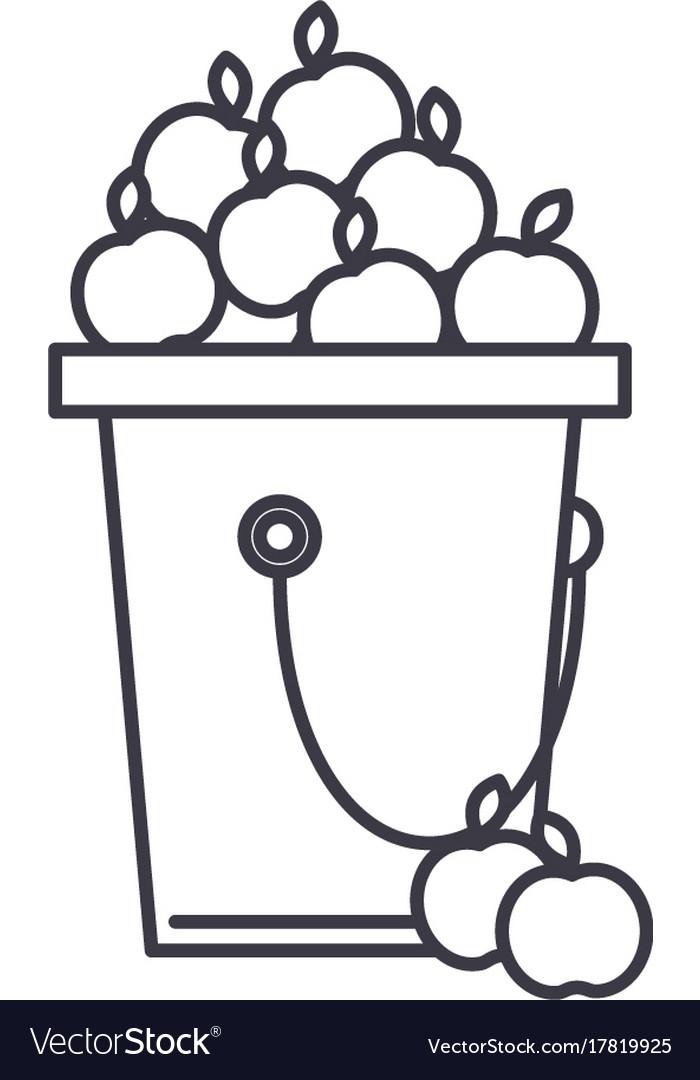 Apple fruit harvest line icon sign