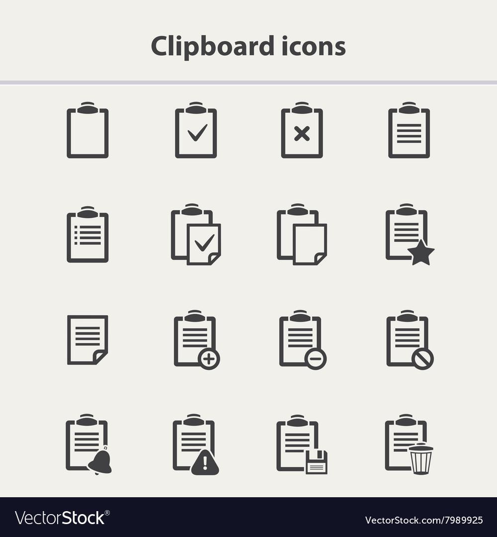 Black Clipboard icons set