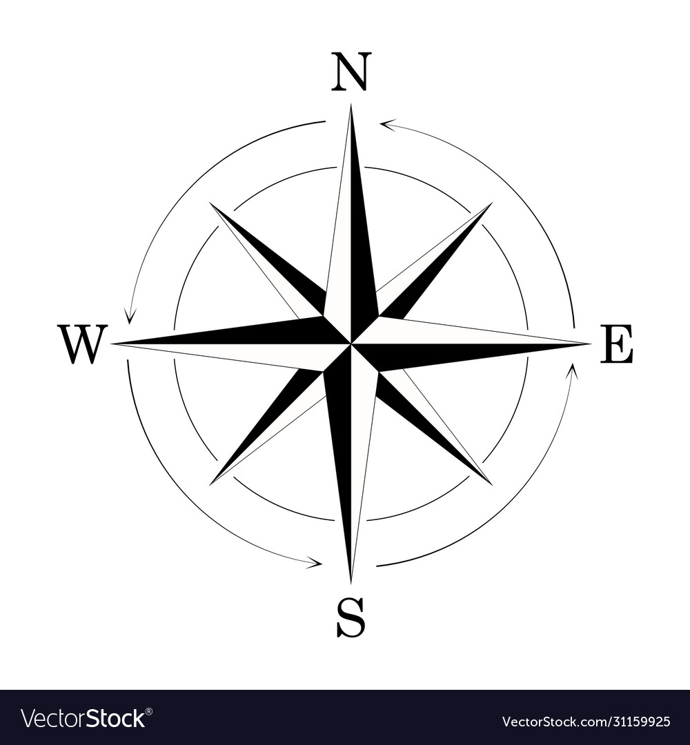 Compass wind rose isolated on white background