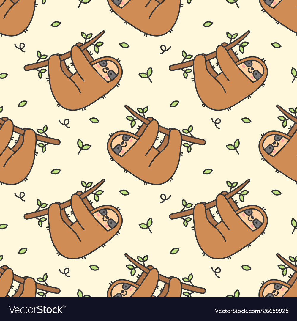 Cute Sloth Seamless Pattern Background Royalty Free Vector