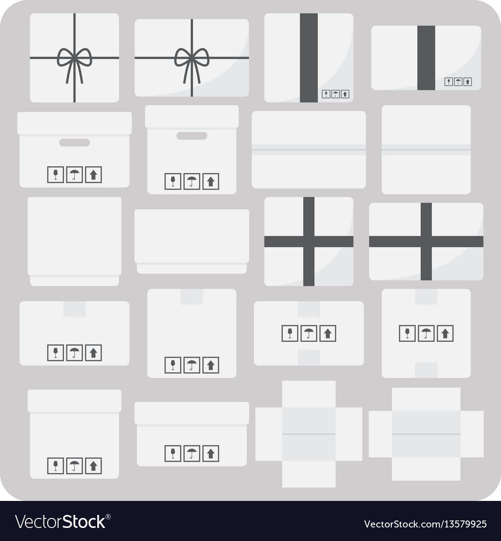 Flat icons various cardboard box set