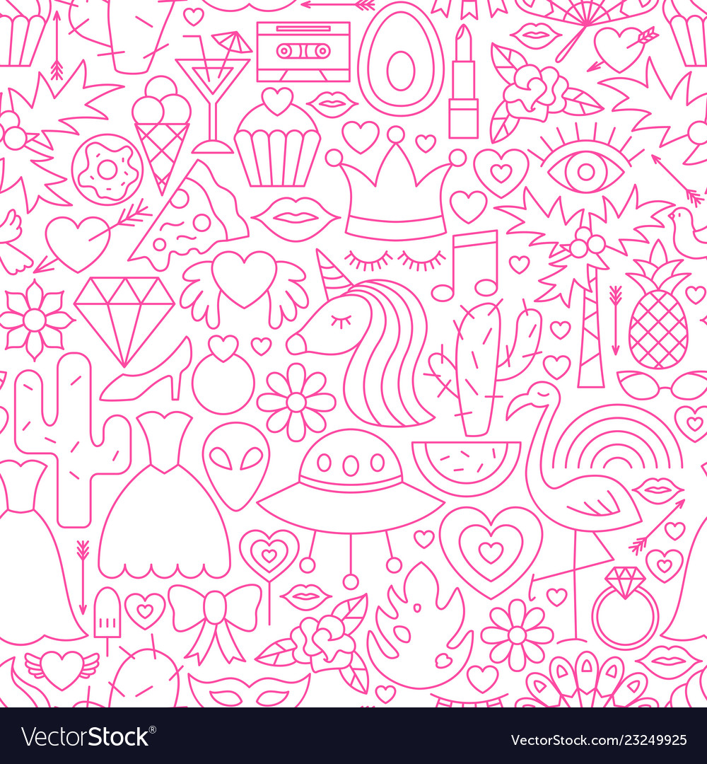 Girl power line seamless pattern