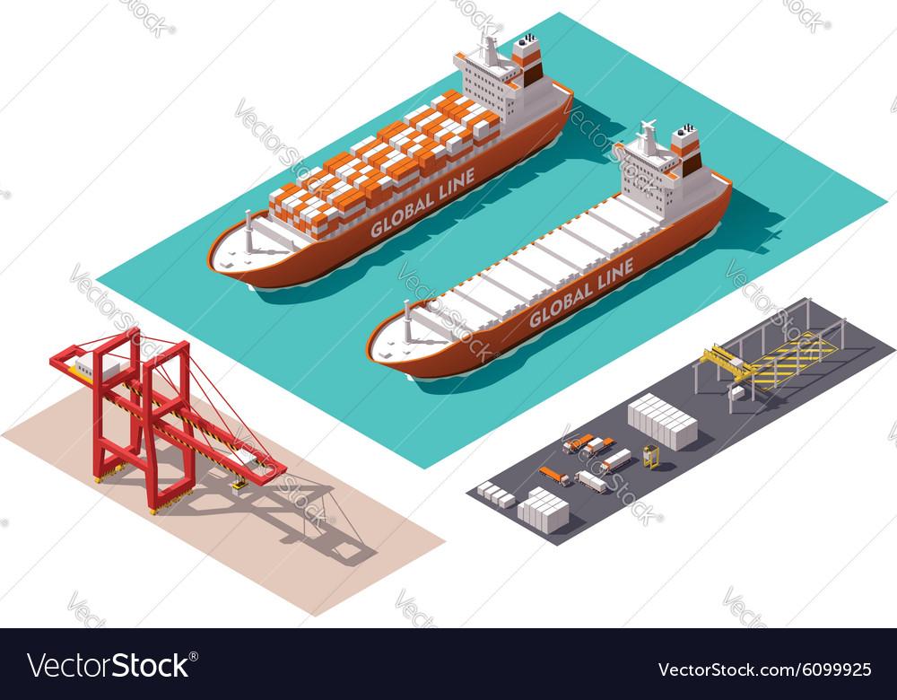 Isometric cargo port elements vector image