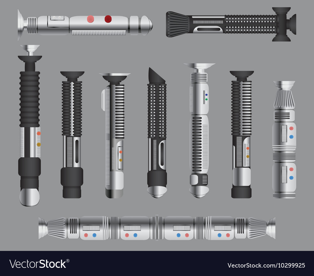Light swords handles set Futuristic melee sci fi
