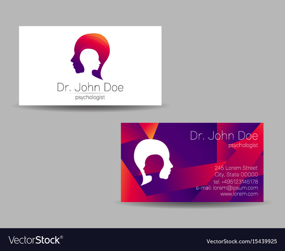 Psychology visit card modern logo Royalty Free Vector Image