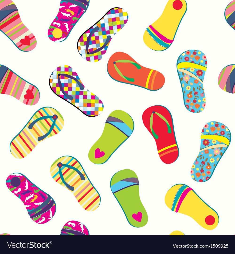 a76ec0cdacb8 Summer flip flops seamless pattern funny Vector Image