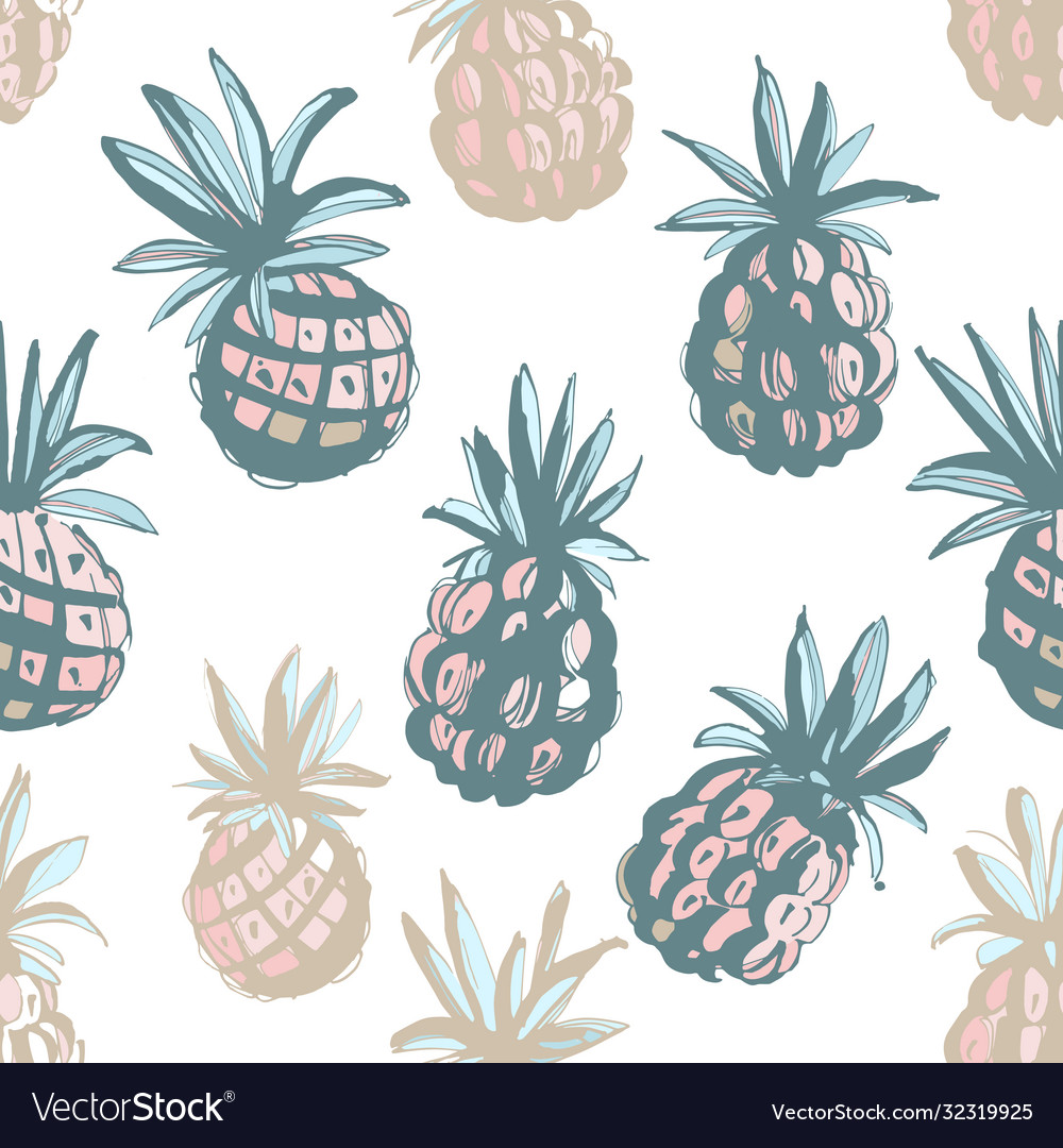 Tropical beach party seamless pineapple pattern