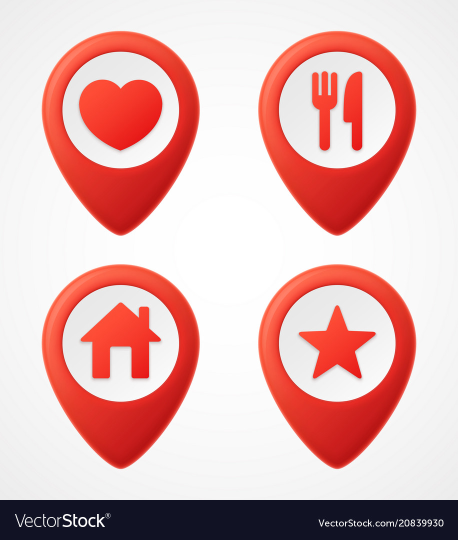 3d map pointer icons map markers set