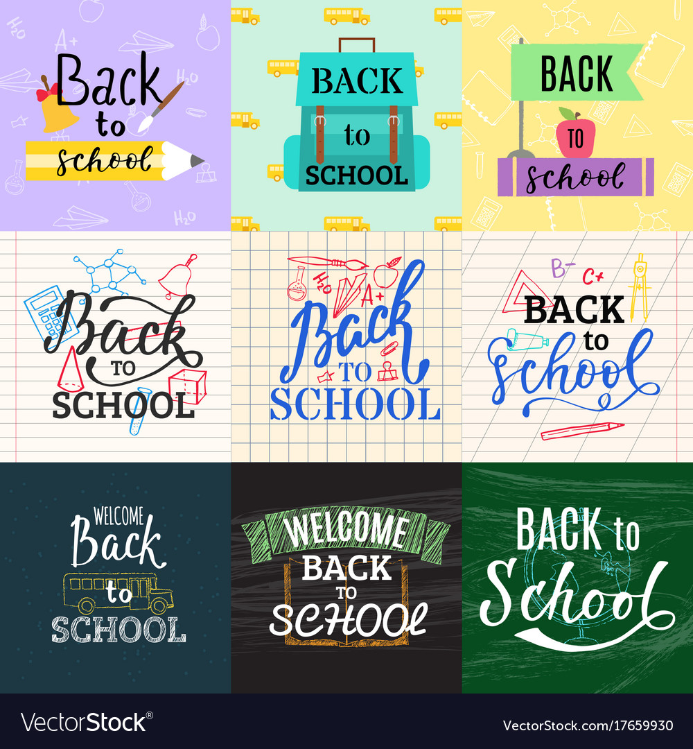Back to school lettering greeting card design text back to school lettering greeting card design text vector image m4hsunfo