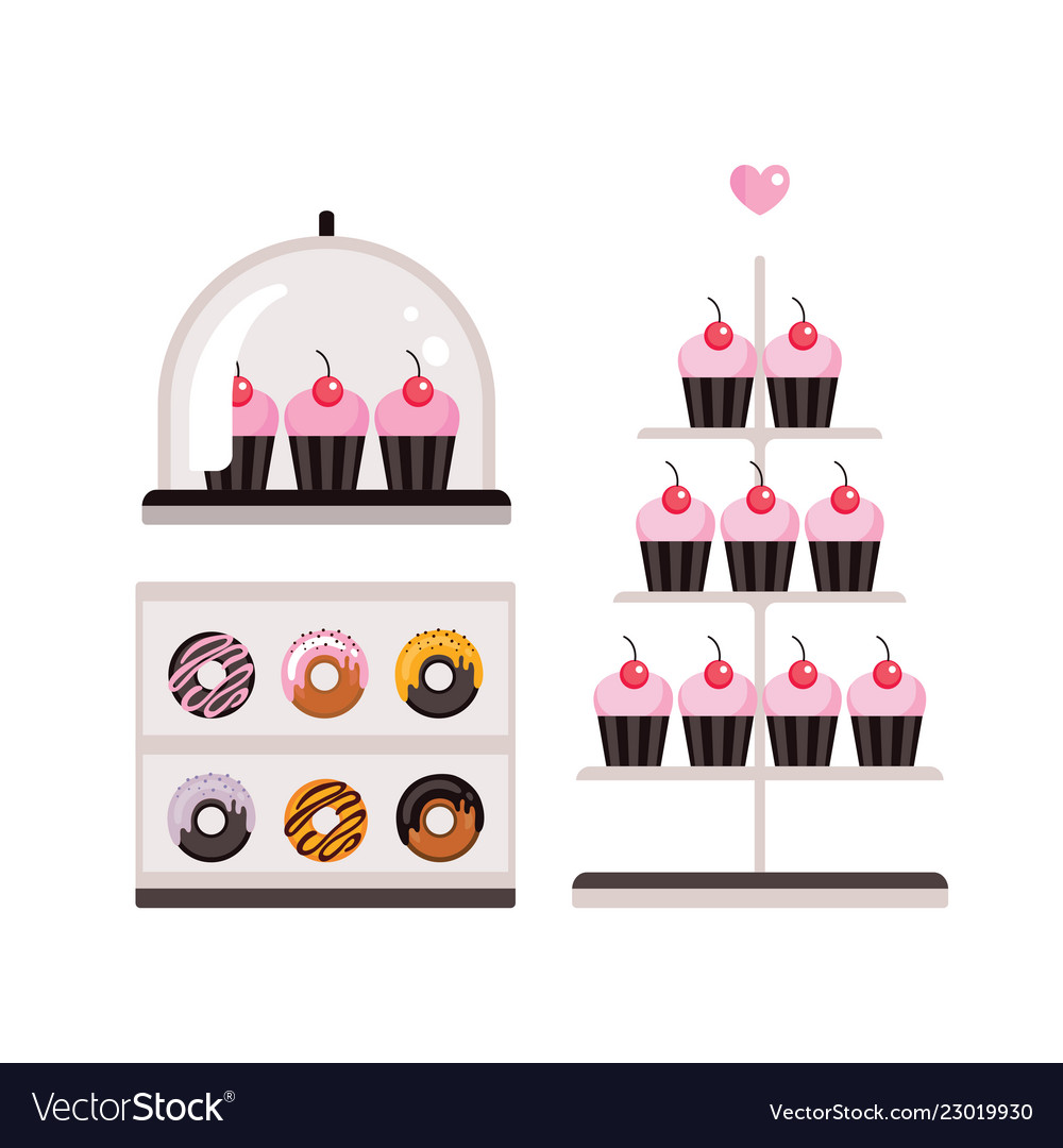 Delicious sweet desserts donuts cupcakes isolated